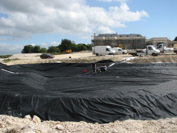 Small lake constructed using SealEco EPDM