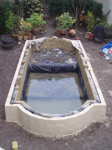 Attaching fixing pond liner onto wall concrete for Concrete fish pond construction and design