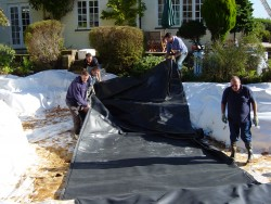 Large Domestic Pond - 3) Pond Liner Installation